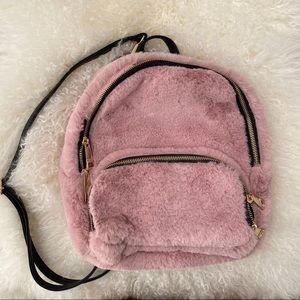 Handbags - Pink Faux Fur backpack